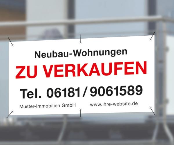 Werbebanner 200cm x 95cm - inkl. Druck & Ösen - Standardlayout mit Wunschtext