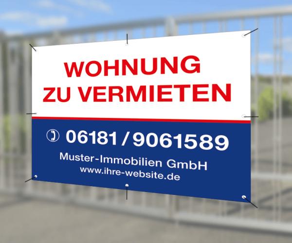 Werbebanner 200cm x 120cm - inkl. Druck & Ösen - Standardlayout mit Wunschtext