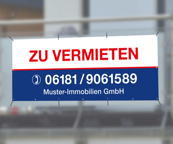 Werbebanner 300cm x 95cm - inkl. Druck & Ösen - Standardlayout mit Wunschtext