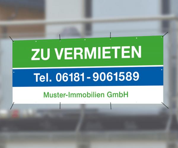 Werbebanner 350cm x 150cm - inkl. Druck & Ösen - Standardlayout mit Wunschtext