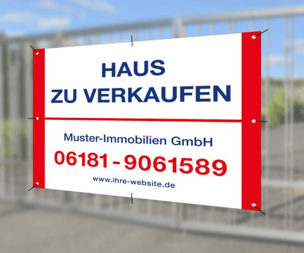 Werbebanner 120cm x 95cm - inkl. Druck & Ösen - Standardlayout mit Wunschtext
