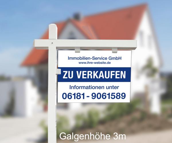 Maklergalgen SET 7 - Aluverbundschild inkl. Druck Standardlayout mit Wunschtext