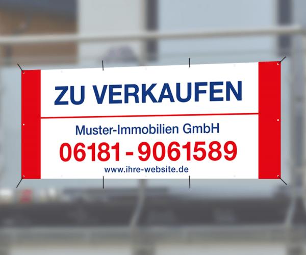 Werbebanner 300cm x 120cm - inkl. Druck & Ösen - Standardlayout mit Wunschtext