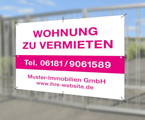 Werbebanner 150cm x 120cm - inkl. Druck & Ösen - Standardlayout mit Wunschtext