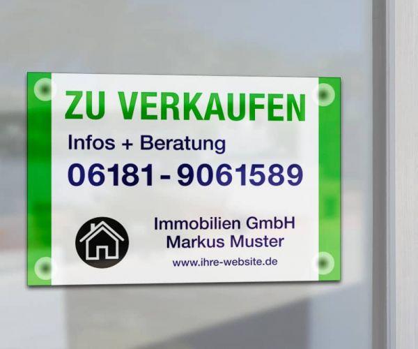 Saugnapfschild - DIN A2 - Hartschaumplatte - inkl. Druck - Standardlayout mit Wunschtext