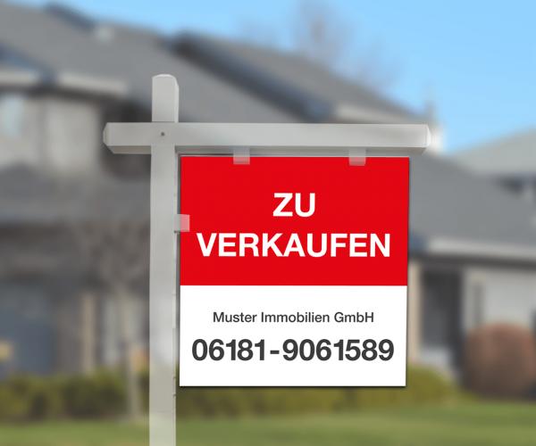 Galgenschild Aluverbund - 70cm x 70cm - inkl. Druck Standardlayout mit Wunschtext