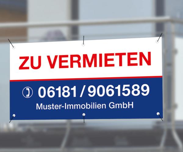 Werbebanner 100cm x 50cm - inkl. Druck & Ösen - Standardlayout mit Wunschtext