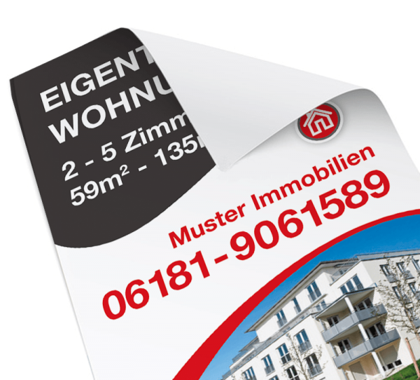 Immo-Plakat - DIN A2 Hochformat - inkl. Druck - Standardlayout mit Wunschtext