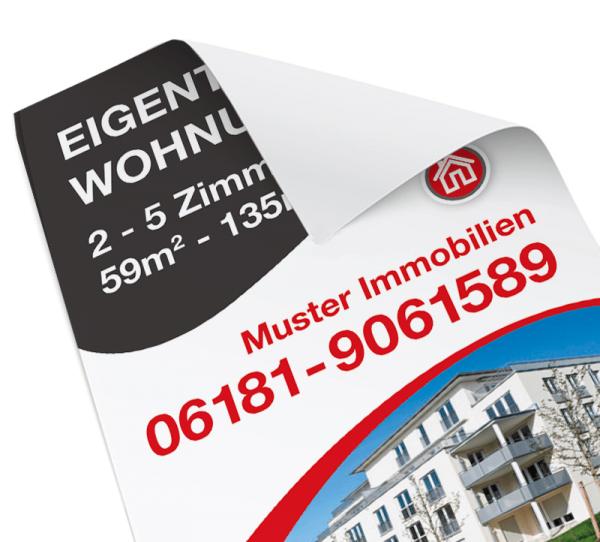 Immo-Plakat - 70cm x 100cm Hochformat - inkl. Druck - Standardlayout mit Wunschtext