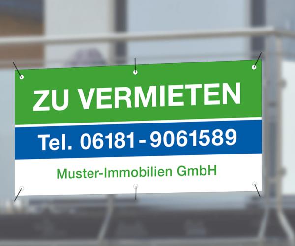 Werbebanner 250cm x 120cm - inkl. Druck & Ösen - Standardlayout mit Wunschtext