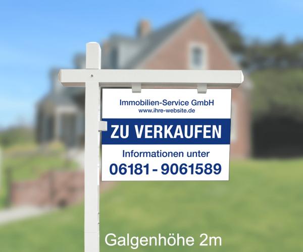 Maklergalgen SET 3 - Aluverbundschild inkl. Druck Standardlayout mit Wunschtext