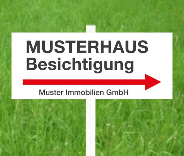 """Wegweiserschild """"rechts"""" - 60cm x 25cm - Aluverbund - inkl. einseitigem Druck"""