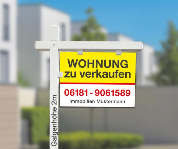Maklergalgen SET 1 - Hartschaumschild inkl. Druck Standardlayout mit Wunschtext